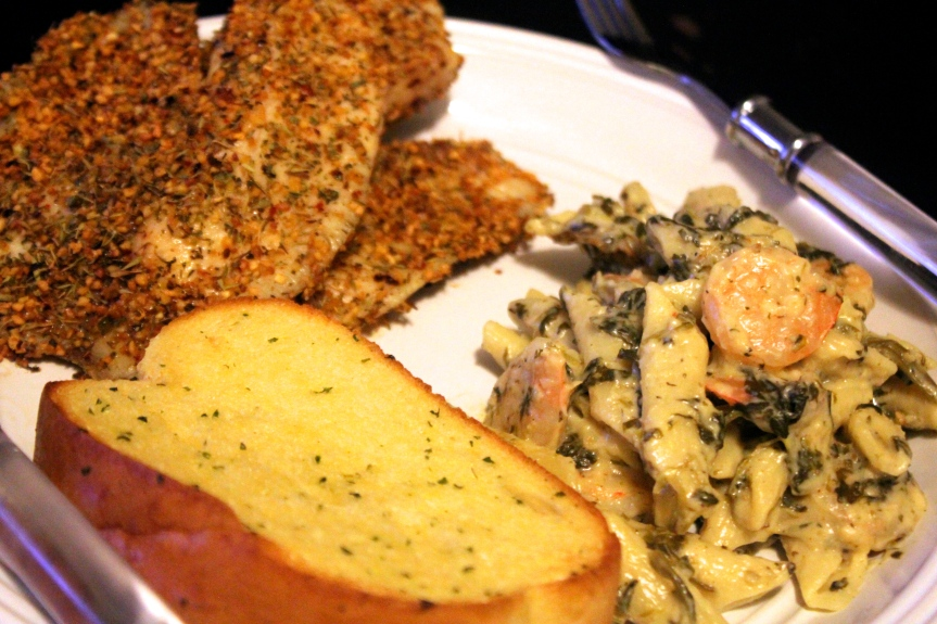 Garlic Crusted Tilapia + Shrimp 'n Spinach Penne